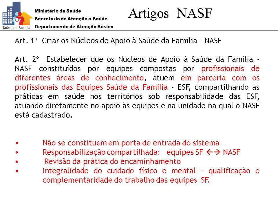 Ministério da Saúde Secretaria de Atenção a Saúde Departamento de Atenção Básica Artigos NASF Art. 1º Criar os Núcleos de Apoio à Saúde da Família - N