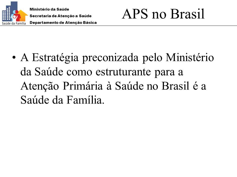 Ministério da Saúde Secretaria de Atenção a Saúde Departamento de Atenção Básica APS no Brasil A Estratégia preconizada pelo Ministério da Saúde como
