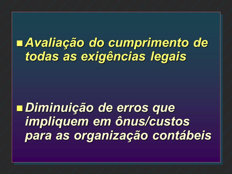 n Observação do cumprimento de normas internas e da legislação n Avaliação da qualidade na execução de tarefas