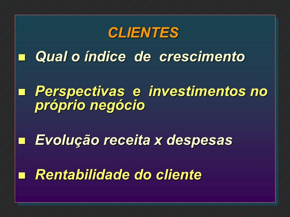 CLIENTES n Quem são e o que fazem os clientes n Quem os conhece n Qual as necessidades de cada cliente