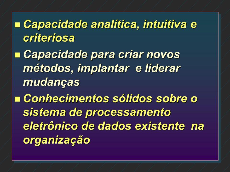 n Comprometimento com a organização n Conhecimento interno da organização e de seus clientes n Conhecimento técnico, experiência e capacidade profissi