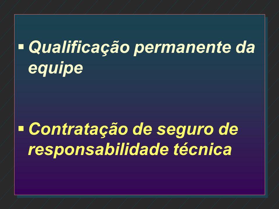 Qualificação permanente da equipe Contratação de seguro de responsabilidade técnica