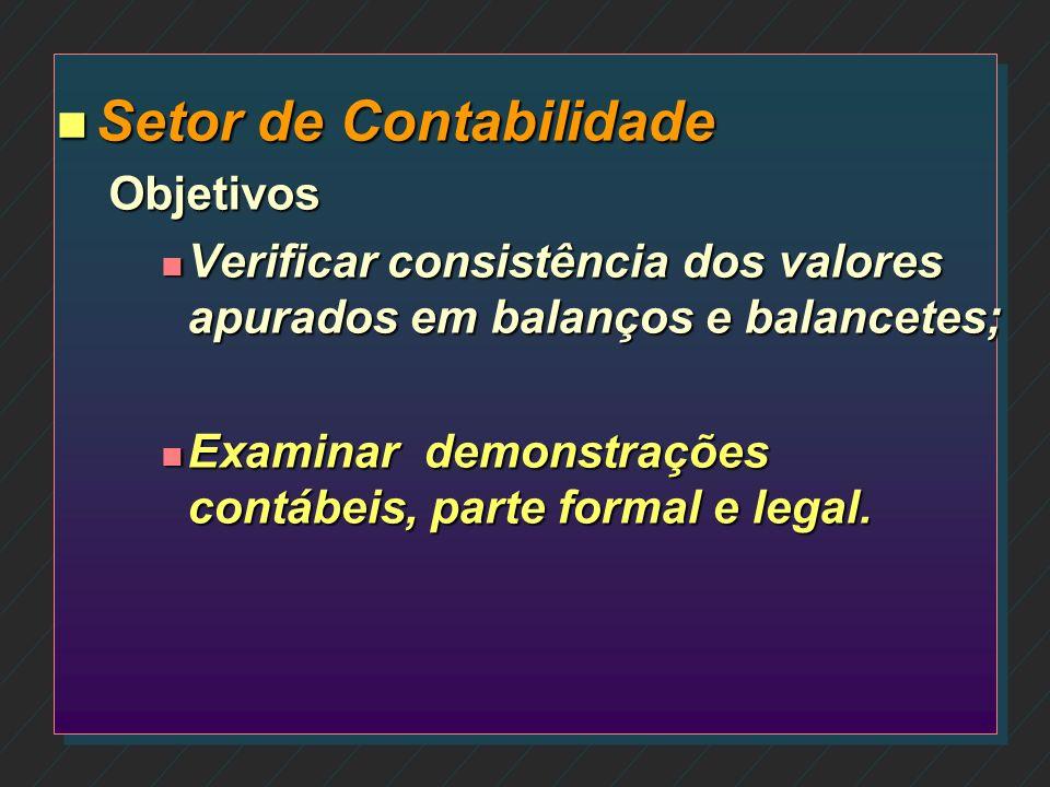 n Setor de Contabilidade –Objetivos n Analisar os procedimentos contábeis praticados pela empresa de contabilidade; n Auditar saldos contábeis de valo