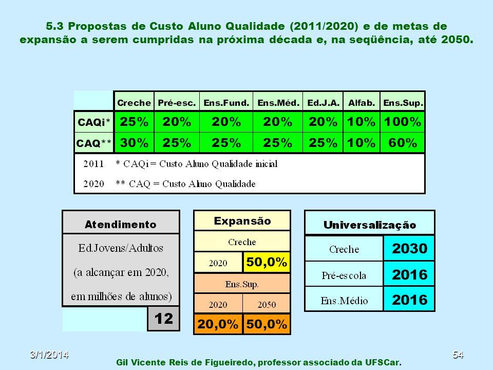 3/1/201454 5.3 Propostas de Custo Aluno Qualidade (2011/2020) e de metas de expansão a serem cumpridas na próxima década e, na seqüência, até 2050. Gi