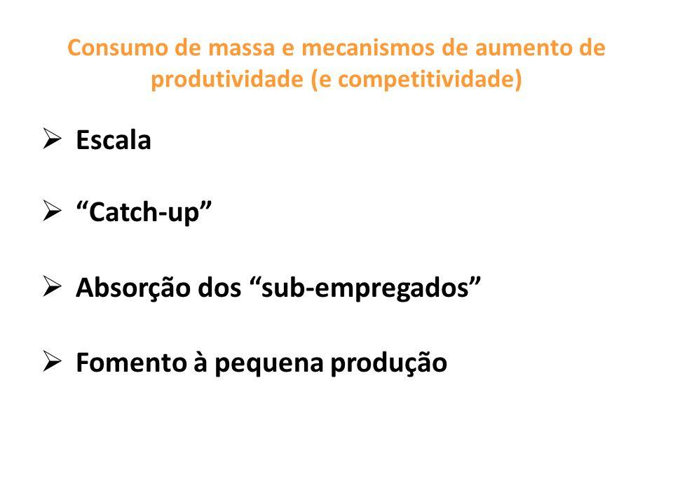 Consumo de massa e mecanismos de aumento de produtividade (e competitividade) Escala Catch-up Absorção dos sub-empregados Fomento à pequena produção