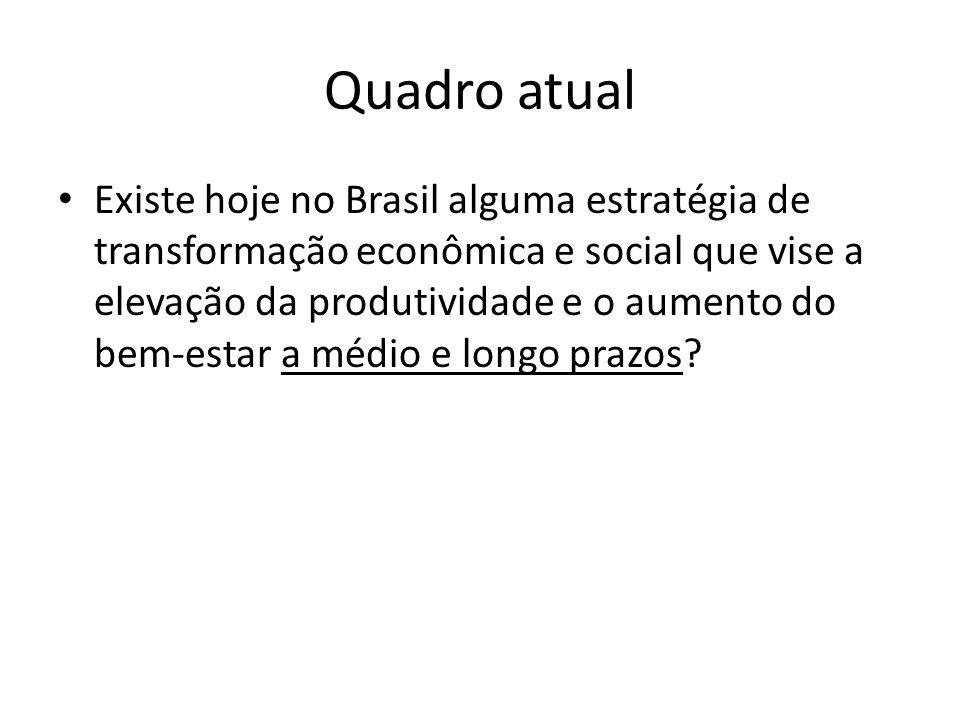 Em discussão (assistemática) no Brasil: sete grupos de formulações sobre desenvolvimento Reformas (2ª geração) Crescimento com redistribuição, via produção e consumo de massa Inovação e competitividade Infraestrutura e petróleo Integração territorial Combate à pobreza e à concentração da renda Sustentabilidade ambiental