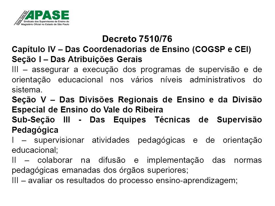 Decreto 7510/76 Capítulo IV – Das Coordenadorias de Ensino (COGSP e CEI) Seção I – Das Atribuições Gerais III – assegurar a execução dos programas de