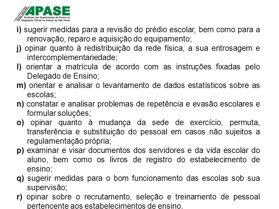 i) sugerir medidas para a revisão do prédio escolar, bem como para a renovação, reparo e aquisição do equipamento; j) opinar quanto à redistribuição d