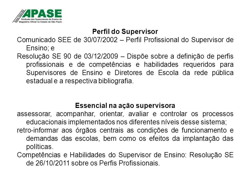 Perfil do Supervisor Comunicado SEE de 30/07/2002 – Perfil Profissional do Supervisor de Ensino; e Resolução SE 90 de 03/12/2009 – Dispõe sobre a defi