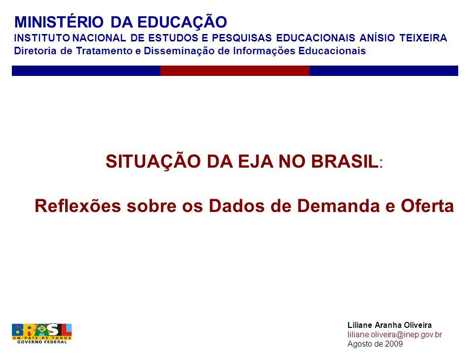 MINISTÉRIO DA EDUCAÇÃO INSTITUTO NACIONAL DE ESTUDOS E PESQUISAS EDUCACIONAIS ANÍSIO TEIXEIRA Diretoria de Tratamento e Disseminação de Informações Educacionais Liliane Aranha Oliveira liliane.oliveira@inep.gov.br Agosto de 2009 SITUAÇÃO DA EJA NO BRASIL : Reflexões sobre os Dados de Demanda e Oferta