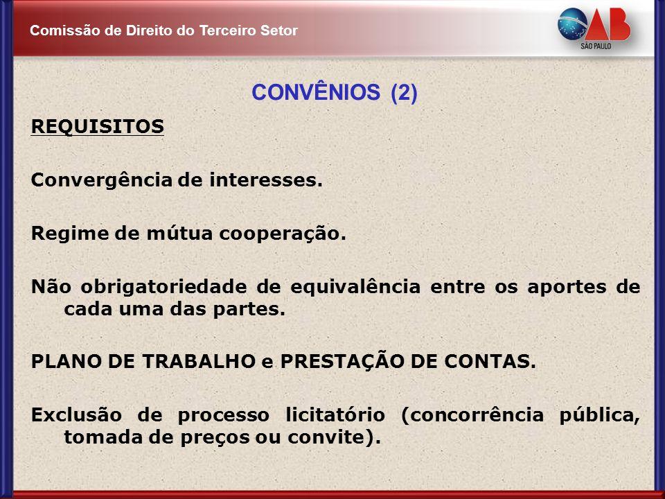 Comissão de Direito do Terceiro Setor CONVÊNIOS (2) REQUISITOS Convergência de interesses. Regime de mútua cooperação. Não obrigatoriedade de equivalê
