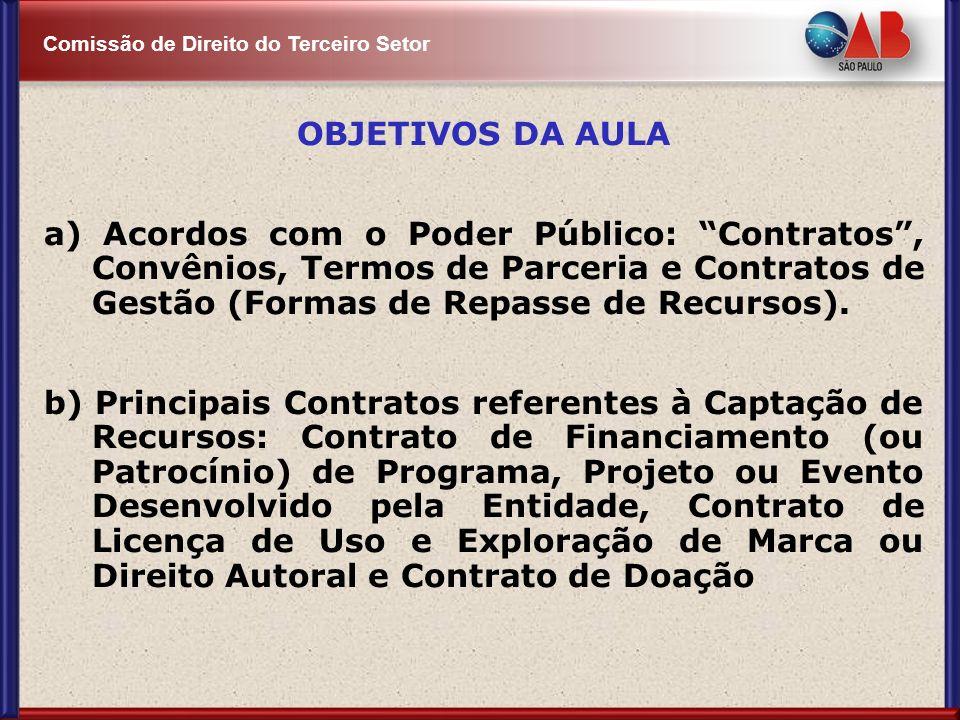Comissão de Direito do Terceiro Setor OBJETIVOS DA AULA a) Acordos com o Poder Público: Contratos, Convênios, Termos de Parceria e Contratos de Gestão