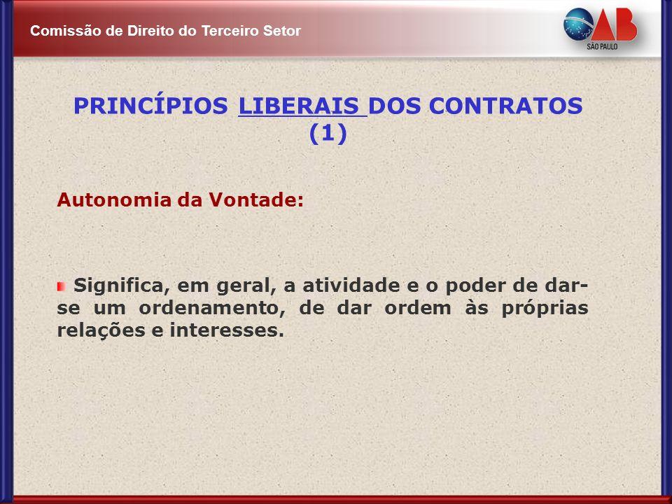 Comissão de Direito do Terceiro Setor Autonomia da Vontade: Significa, em geral, a atividade e o poder de dar- se um ordenamento, de dar ordem às próp