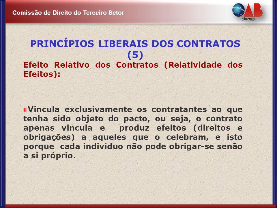 Comissão de Direito do Terceiro Setor Efeito Relativo dos Contratos (Relatividade dos Efeitos): Vincula exclusivamente os contratantes ao que tenha si