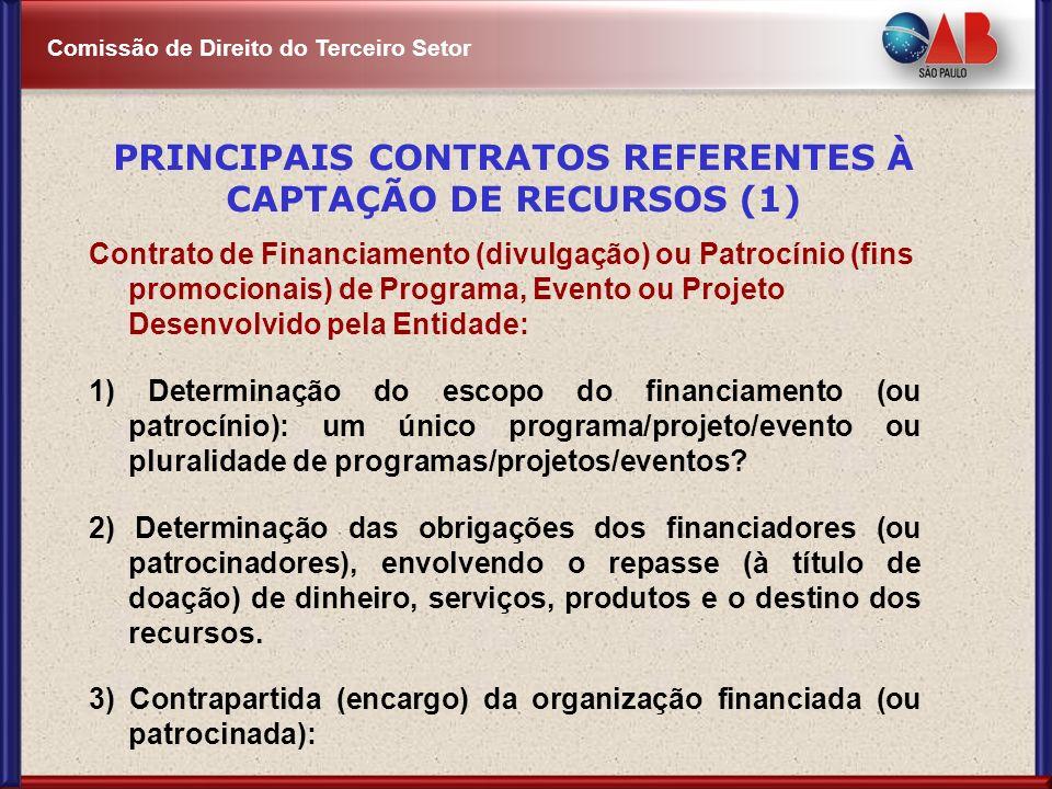 Comissão de Direito do Terceiro Setor Contrato de Financiamento (divulgação) ou Patrocínio (fins promocionais) de Programa, Evento ou Projeto Desenvol
