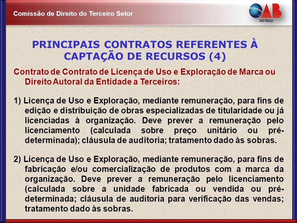 Comissão de Direito do Terceiro Setor Contrato de Contrato de Licença de Uso e Exploração de Marca ou Direito Autoral da Entidade a Terceiros: 1) Lice