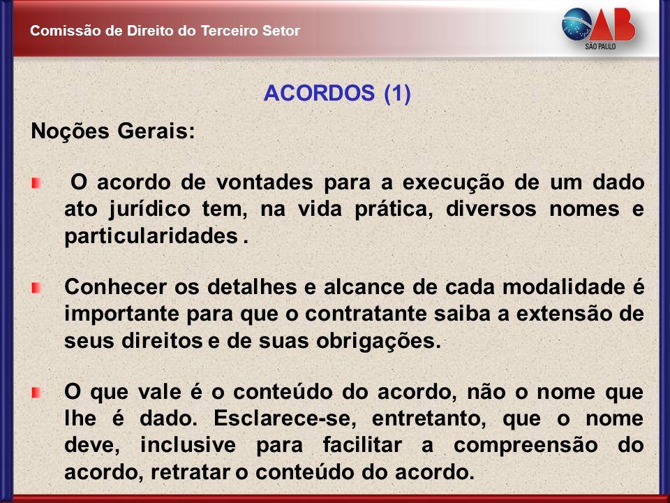 Comissão de Direito do Terceiro Setor ACORDOS (1) Noções Gerais: O acordo de vontades para a execução de um dado ato jurídico tem, na vida prática, di