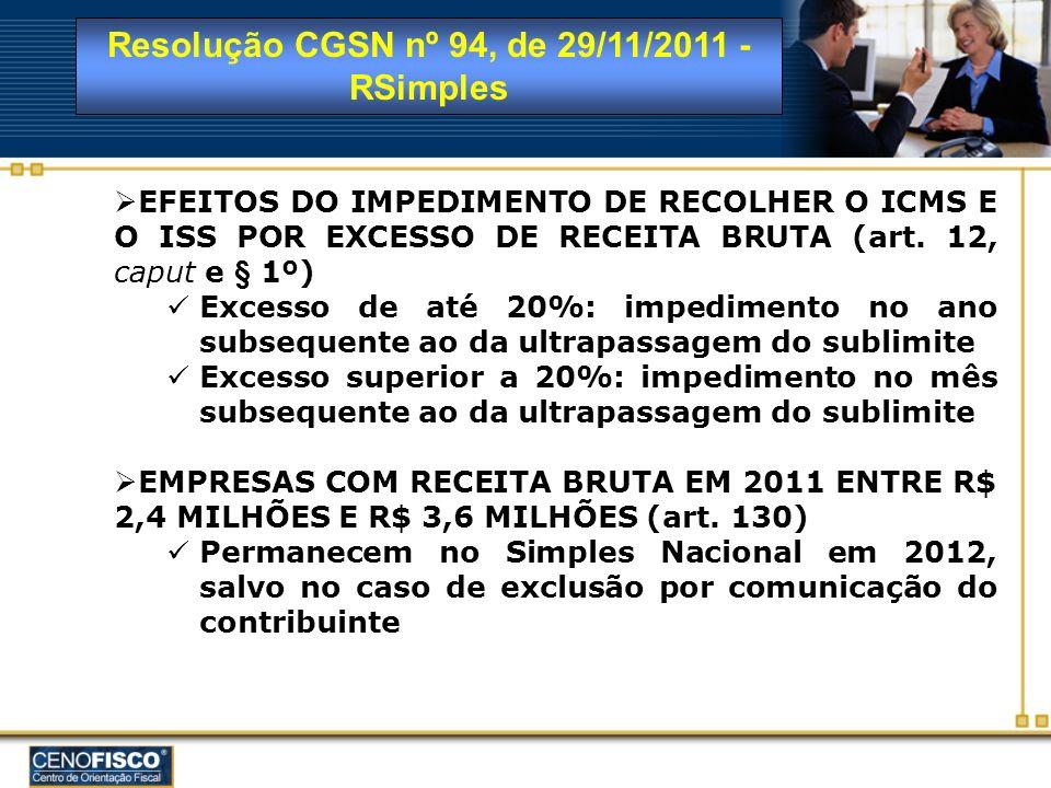 Resolução CGSN nº 94, de 29/11/2011 - RSimples EFEITOS DO IMPEDIMENTO DE RECOLHER O ICMS E O ISS POR EXCESSO DE RECEITA BRUTA (art. 12, caput e § 1º)