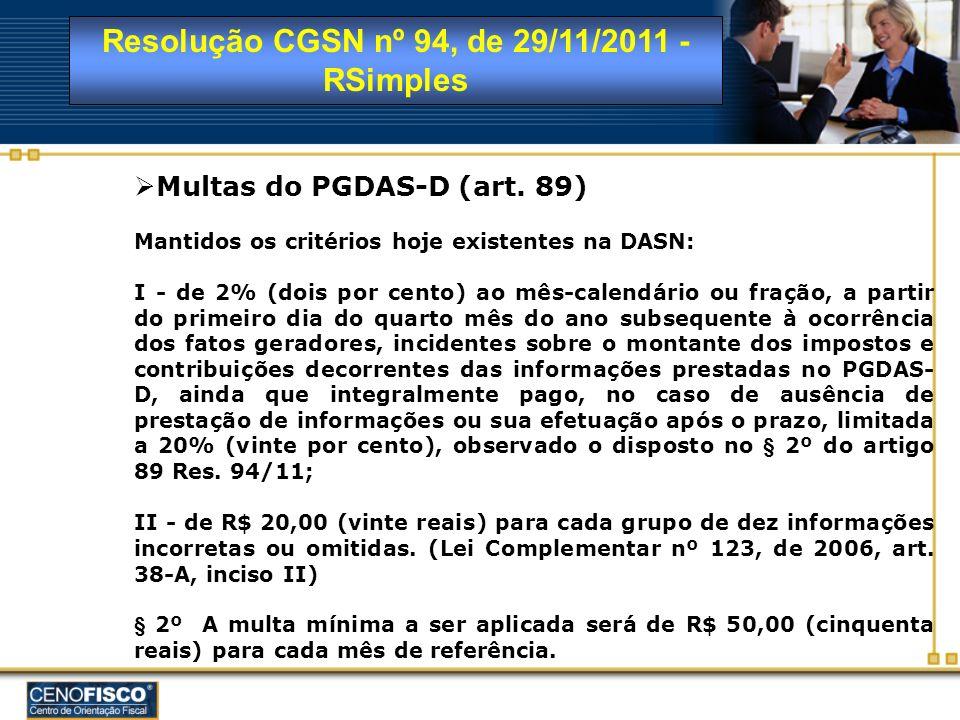 Multas do PGDAS-D (art. 89) Mantidos os critérios hoje existentes na DASN: I - de 2% (dois por cento) ao mês-calendário ou fração, a partir do primeir