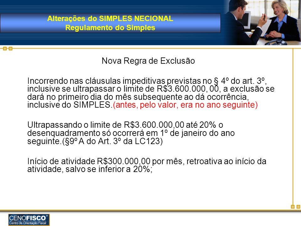 Nova Regra de Exclusão Incorrendo nas cláusulas impeditivas previstas no § 4º do art. 3º, inclusive se ultrapassar o limite de R$3.600.000, 00, a excl
