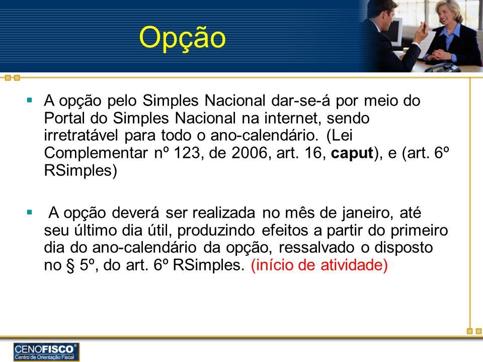 Opção A opção pelo Simples Nacional dar-se-á por meio do Portal do Simples Nacional na internet, sendo irretratável para todo o ano-calendário. (Lei C