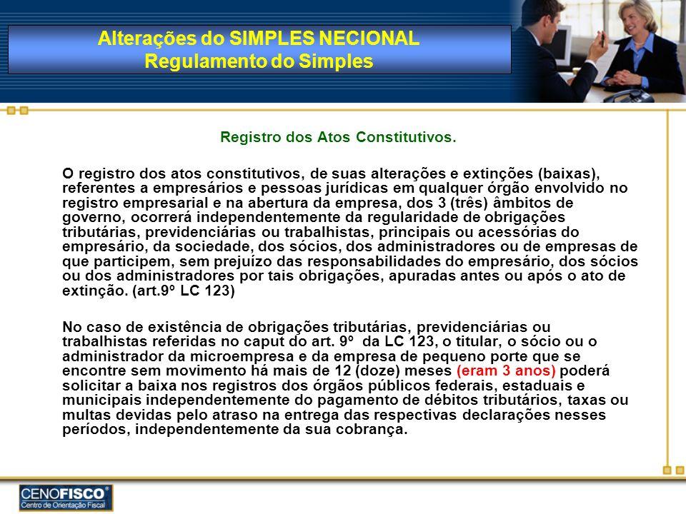 Registro dos Atos Constitutivos. O registro dos atos constitutivos, de suas alterações e extinções (baixas), referentes a empresários e pessoas jurídi