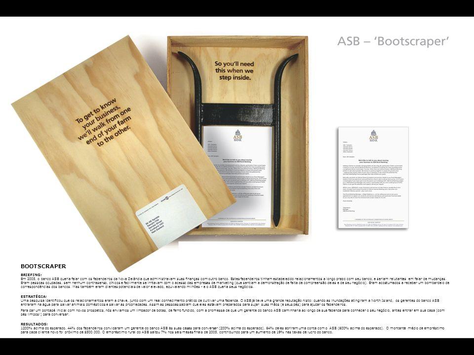 BOOTSCRAPER BRIEFING: Em 2005, o banco ASB queria falar com os fazendeiros da Nova Zelândia que administravam suas finanças com outro banco. Estes faz