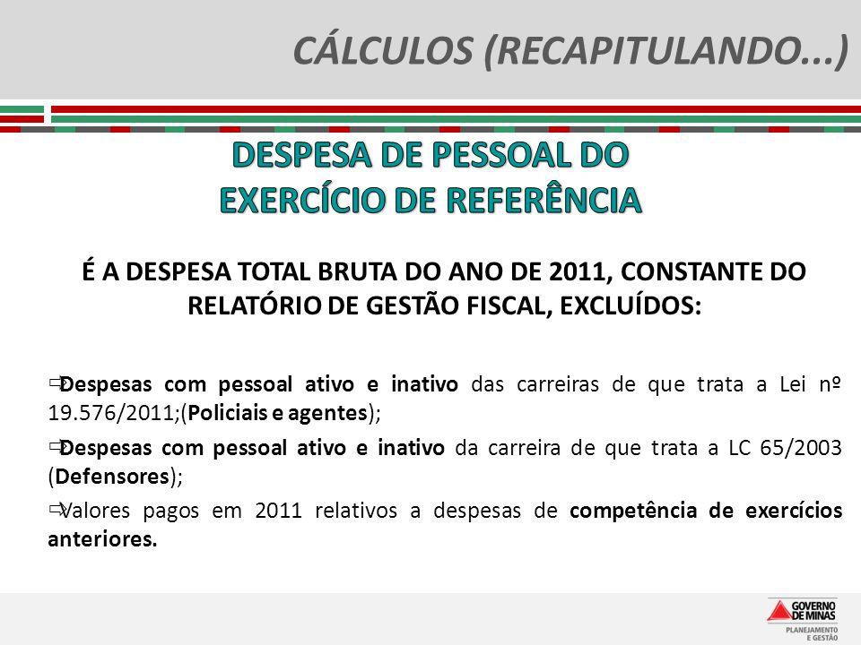 CÁLCULOS (RECAPITULANDO...) É A DESPESA TOTAL BRUTA DO ANO DE 2011, CONSTANTE DO RELATÓRIO DE GESTÃO FISCAL, EXCLUÍDOS: Despesas com pessoal ativo e i