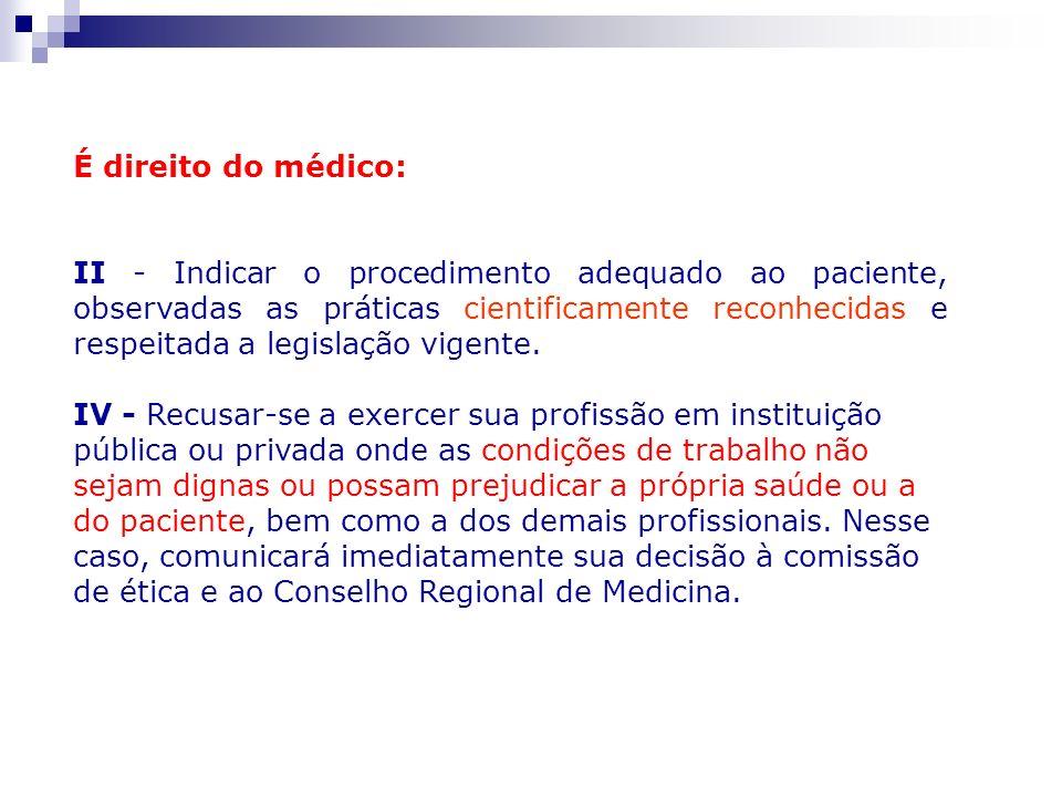 É direito do médico: II - Indicar o procedimento adequado ao paciente, observadas as práticas cientificamente reconhecidas e respeitada a legislação v