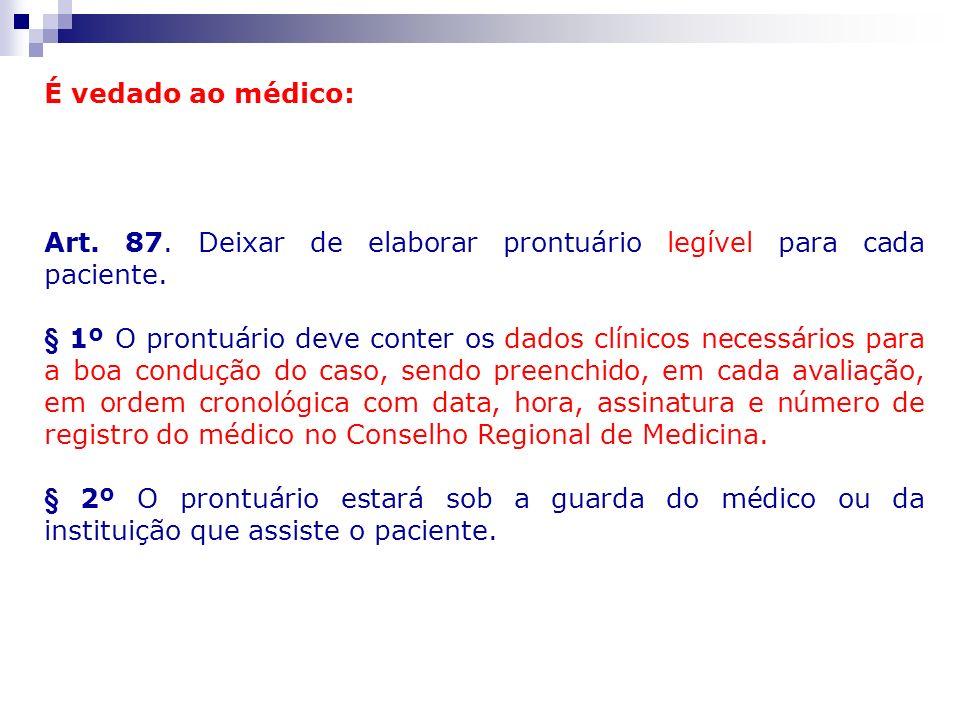É vedado ao médico: Art. 87. Deixar de elaborar prontuário legível para cada paciente. § 1º O prontuário deve conter os dados clínicos necessários par