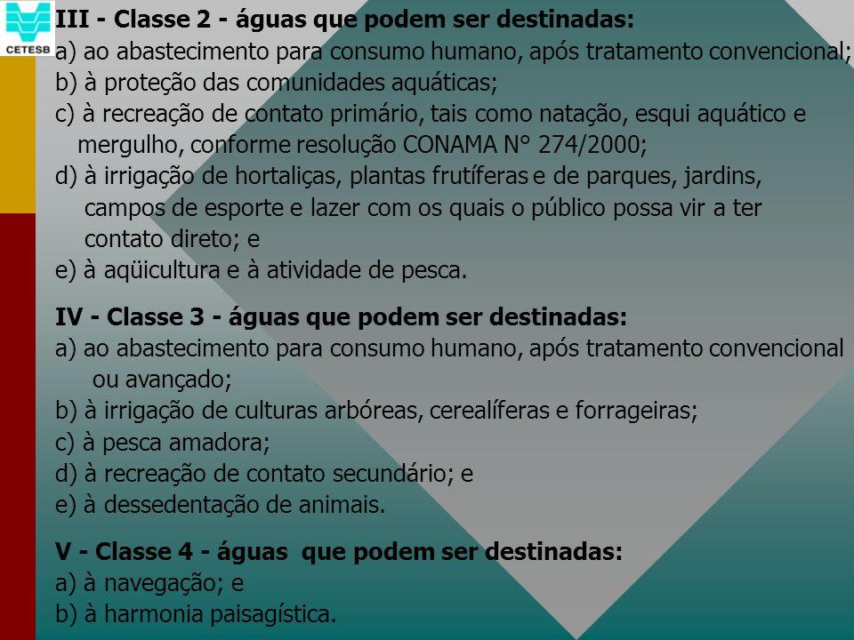 III - Classe 2 - águas que podem ser destinadas: a) ao abastecimento para consumo humano, após tratamento convencional; b) à proteção das comunidades