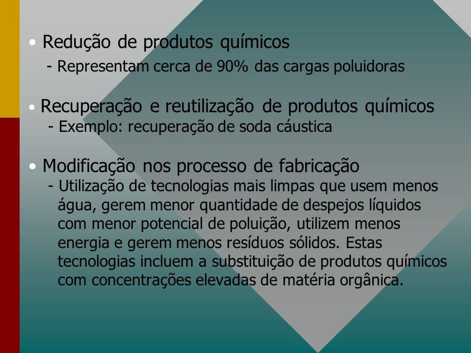Redução de produtos químicos - Representam cerca de 90% das cargas poluidoras Recuperação e reutilização de produtos químicos - Exemplo: recuperação d