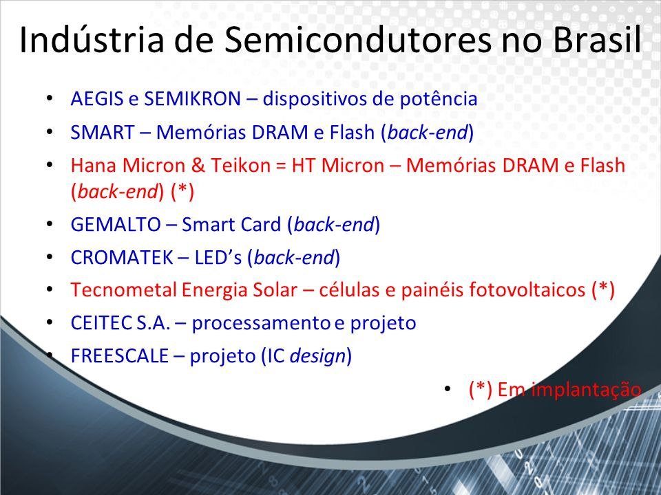 Indústria de Semicondutores no Brasil AEGIS e SEMIKRON – dispositivos de potência SMART – Memórias DRAM e Flash (back-end) Hana Micron & Teikon = HT M