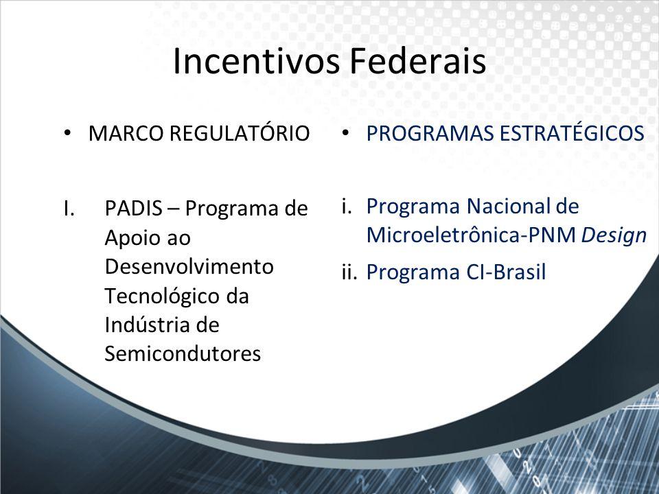 Incentivos Federais MARCO REGULATÓRIO I.PADIS – Programa de Apoio ao Desenvolvimento Tecnológico da Indústria de Semicondutores PROGRAMAS ESTRATÉGICOS