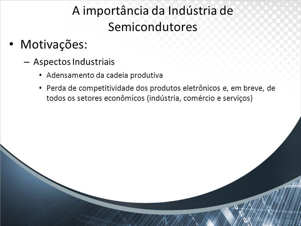 A importância da Indústria de Semicondutores Motivações: – Aspectos Industriais Adensamento da cadeia produtiva Perda de competitividade dos produtos