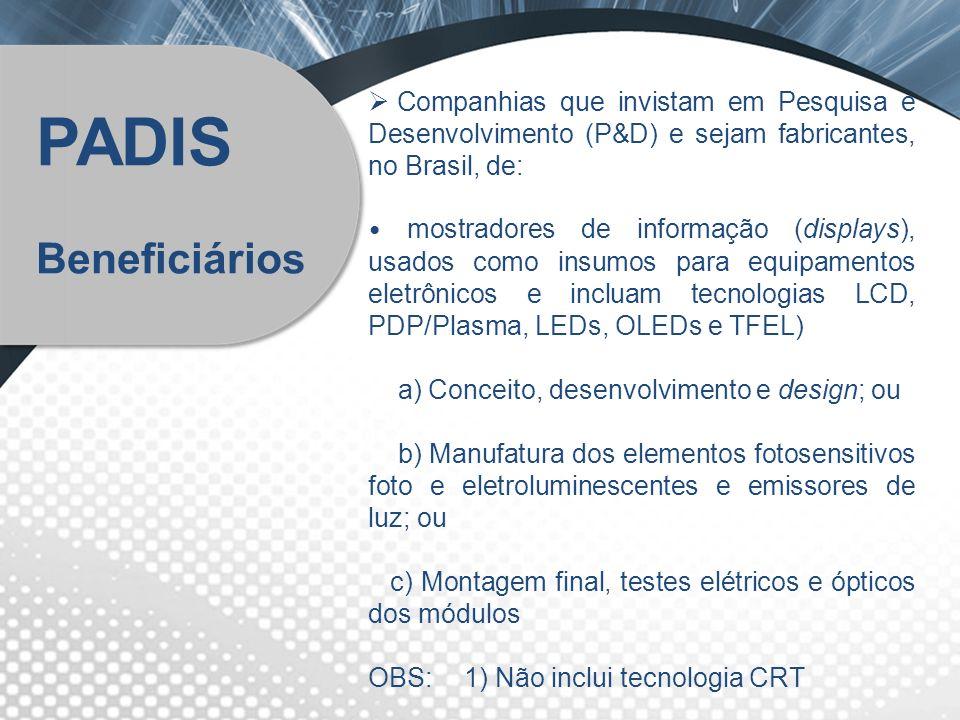 Companhias que invistam em Pesquisa e Desenvolvimento (P&D) e sejam fabricantes, no Brasil, de: mostradores de informação (displays), usados como insu