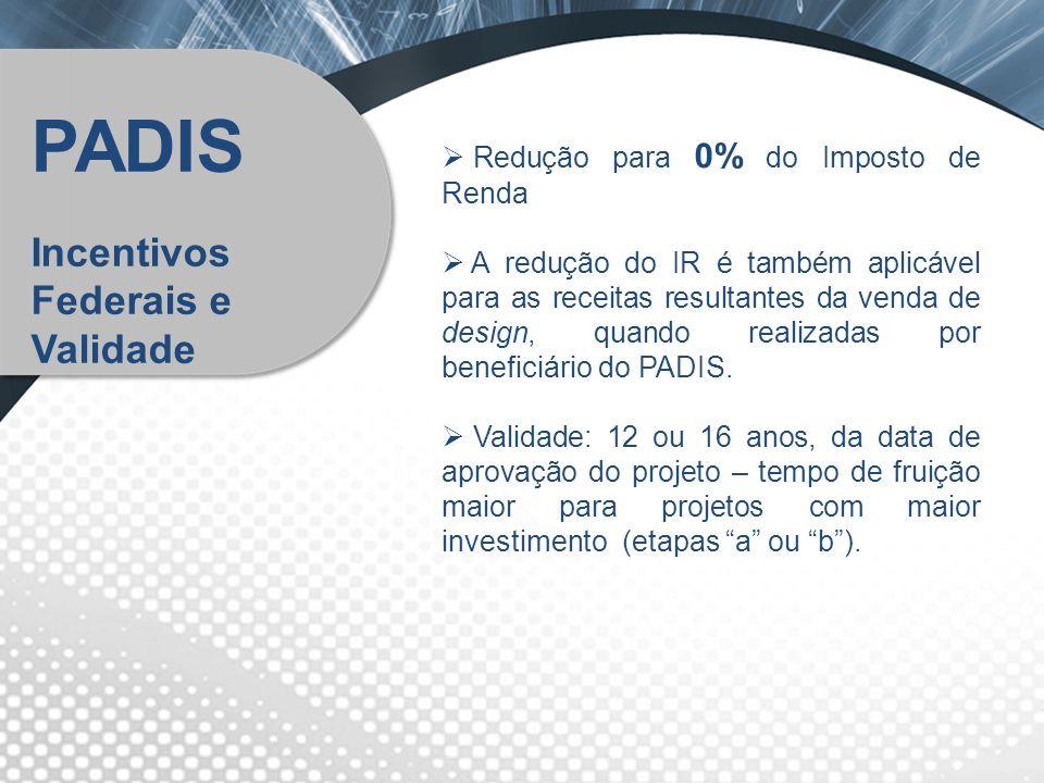 Redução para 0% do Imposto de Renda A redução do IR é também aplicável para as receitas resultantes da venda de design, quando realizadas por benefici