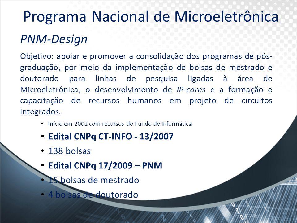 PNM-Design Objetivo: apoiar e promover a consolidação dos programas de pós- graduação, por meio da implementação de bolsas de mestrado e doutorado par