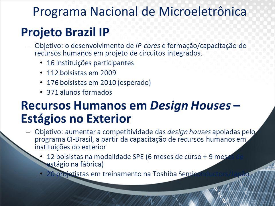 Projeto Brazil IP – Objetivo: o desenvolvimento de IP-cores e formação/capacitação de recursos humanos em projeto de circuitos integrados. 16 institui