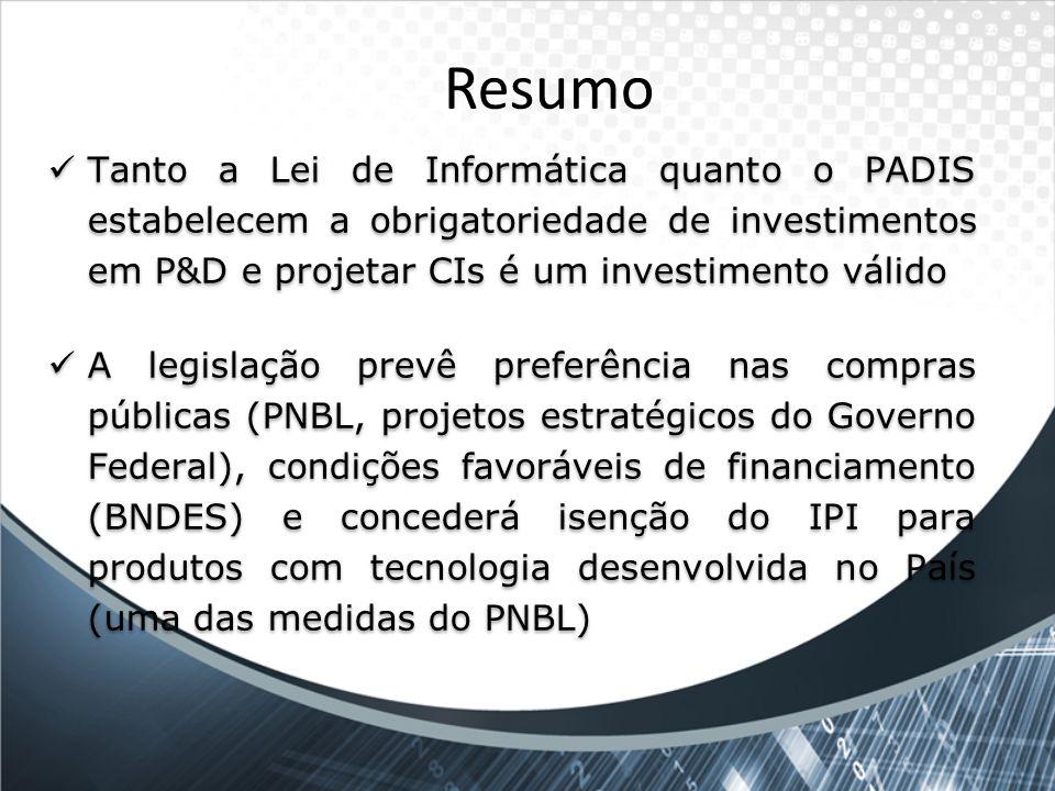 Resumo Tanto a Lei de Informática quanto o PADIS estabelecem a obrigatoriedade de investimentos em P&D e projetar CIs é um investimento válido A legis