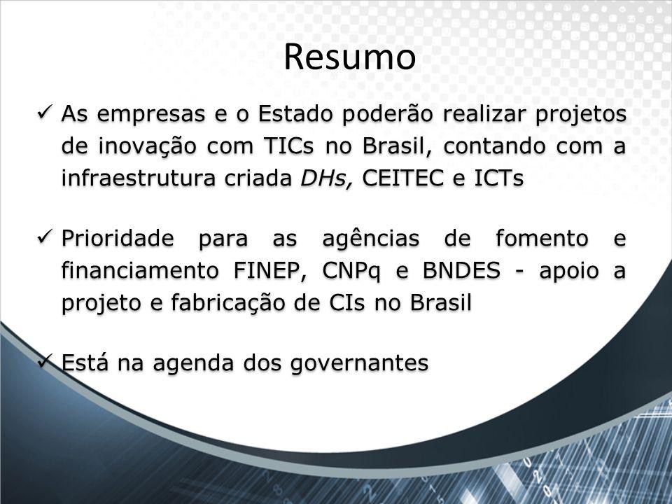 Resumo As empresas e o Estado poderão realizar projetos de inovação com TICs no Brasil, contando com a infraestrutura criada DHs, CEITEC e ICTs Priori