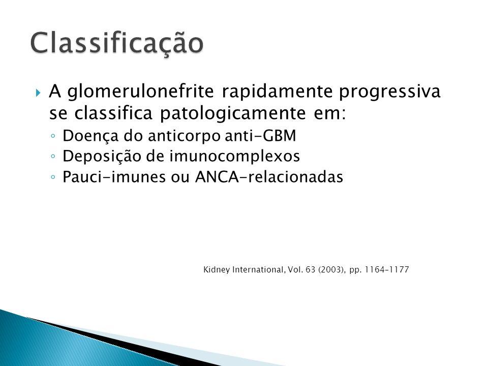 A glomerulonefrite rapidamente progressiva se classifica patologicamente em: Doença do anticorpo anti-GBM Deposição de imunocomplexos Pauci-imunes ou