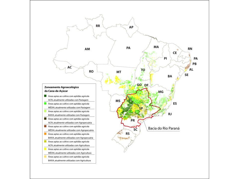 90% da produção de cana-de-açúcar no Brasil concentra-se principalmente na Bacia do Rio Paraná.