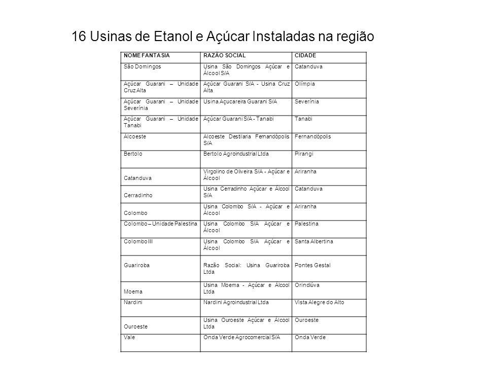 NOME FANTASIARAZÃO SOCIALCIDADE São DomingosUsina São Domingos Açúcar e Álcool S/A Catanduva Açúcar Guarani – Unidade Cruz Alta Açúcar Guarani S/A - U