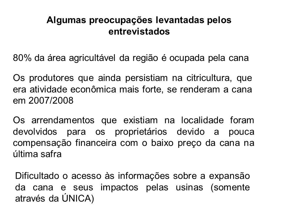 Lições aprendidas A cadeia produtiva da cana-de-açúcar é a principal atividade econômica da região de estudo.
