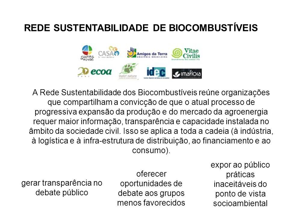 A Rede Sustentabilidade dos Biocombustíveis reúne organizações que compartilham a convicção de que o atual processo de progressiva expansão da produçã
