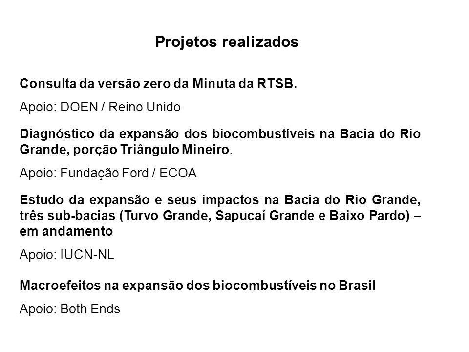 Projetos realizados Diagnóstico da expansão dos biocombustíveis na Bacia do Rio Grande, porção Triângulo Mineiro. Apoio: Fundação Ford / ECOA Estudo d