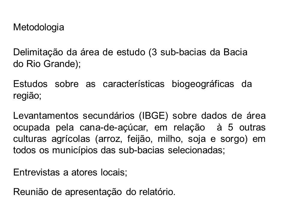 Metodologia Reunião de apresentação do relatório. Delimitação da área de estudo (3 sub-bacias da Bacia do Rio Grande); Estudos sobre as característica