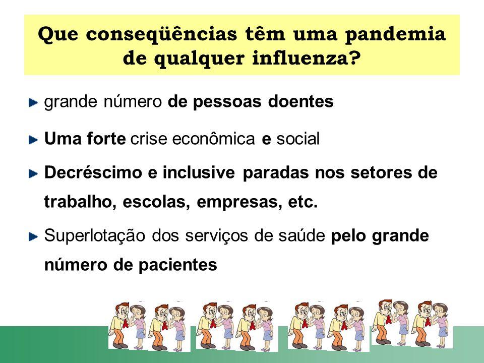 Que conseqüências têm uma pandemia de qualquer influenza? grande número de pessoas doentes Uma forte crise econômica e social Decréscimo e inclusive p
