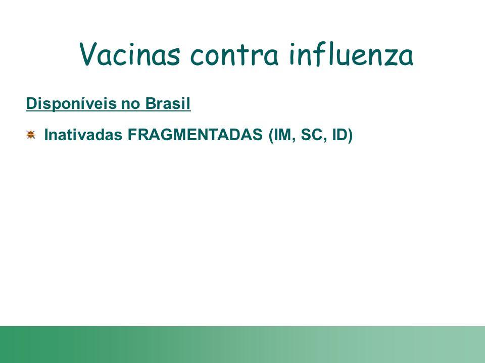 Disponíveis no Brasil Inativadas FRAGMENTADAS (IM, SC, ID) Vacinas contra influenza